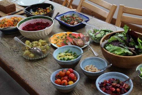 Some of Steph's dishes for a course lunch, there are so many vegetables to make dishes with