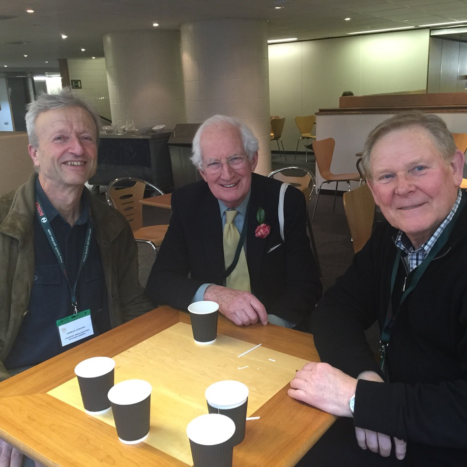 Peter Seabrook in centre and Chris Baines on left, in the Barbican Centre London, February 18th