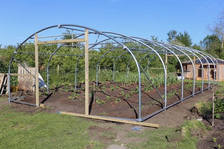 Polytunnel frame erected
